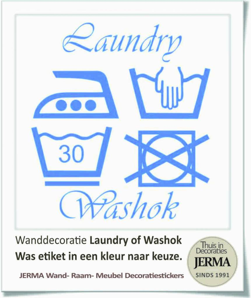 Tekst Stickers Muur.Wassymbolen Muursticker Washok Laundry Jerma Thuis In Decoraties