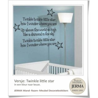 JERMA decoraties Muursticker tekst Twinkle little star met sterren