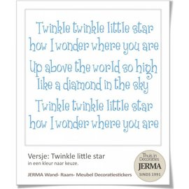JERMA decoraties Muursticker tekst Twinkle little star