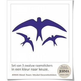 JERMA decoraties Vogel raamstickers, set van 3 zwaluw raamstickers