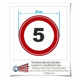 Allerhandestickers.nl Maximumsnelheid sticker 5 km