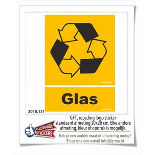 Allerhandestickers.nl Glasbak recycling logo sticker