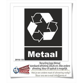 Allerhandestickers.nl Metaal recycling logo sticker