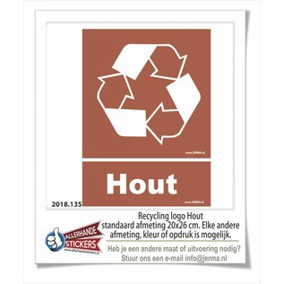 Allerhandestickers.nl Hout recycling logo sticker