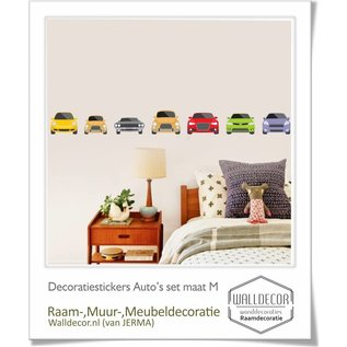 Walldecor Auto muur-, raamsticker set 7 auto's in de maat M