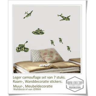 Walldecor Muurstickers soldaten, vliegtuigen en tanks decoratie stickers in camouflage print