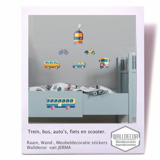Walldecor Thema vervoer  Bus, Trein, Auto, Scooter en Fiets decoratie stickers