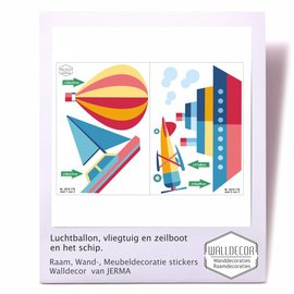 Walldecor Vliegtuig, Boot, Luchtballon decoratiestickers