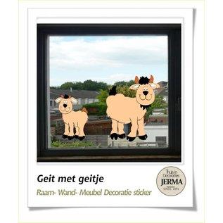 JERMA decoraties Boerderij muurstickers Geitje met jong. decoratie stickers voor op de wanden, meubels of de raam.