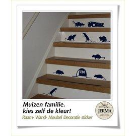 JERMA decoraties Trapstickers Muizen in een kleur naar keuze.