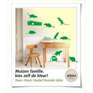 JERMA decoraties Trapstickers Muizen met kaas  kies de kleur zelf uit.