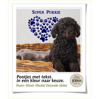 JERMA decoraties Honden pootjes stickers. Pootjes in de vorm van een hard met eigen tekst als bv muurdecoratie.