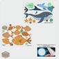 Walldecor Vissen decoratie stickers diep in de zee.
