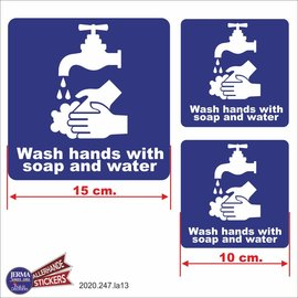 Allerhandestickers.nl Wash hands with soap and water stickers.