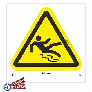 Allerhandestickers.nl Gladde vloer sticker geel zwart 20 cm