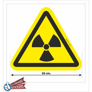 Allerhandestickers.nl Radioactieve stoffen, sticker geel zwart 20 cm.