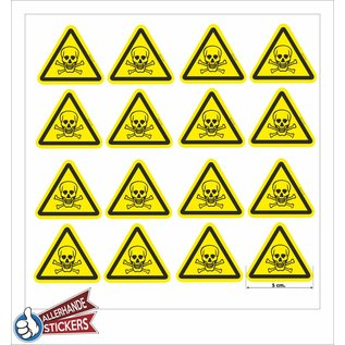 Allerhandestickers.nl Giftige stoffen, doodskop sticker geel zwart 5 cm.