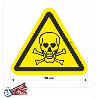 Allerhandestickers.nl Giftige stoffen, doodskop sticker geel zwart. 20cm.
