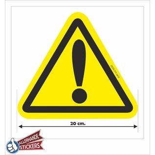 Allerhandestickers.nl Gevaar sticker,  uitroep teken geel zwart 20 cm.