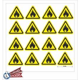 Allerhandestickers.nl Ontvlambare stoffen, Brandgevaar sticker.