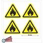 Allerhandestickers.nl Ontvlambare stoffen, Brandgevaar sticker geel zwart 10 cm.