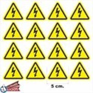 Allerhandestickers.nl Driehoek stickers geel, zwart. Gevaar 5 cm. set 16 stuks