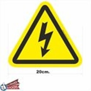 Allerhandestickers.nl Driehoek stickers geel, zwart. Elektrische spanning . 20 cm