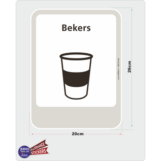 Allerhandestickers.nl Drink bekers recycling pictogram sticker.