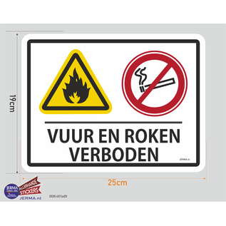 JERMA decoraties Vuur en Roken verboden pictogram sticker.