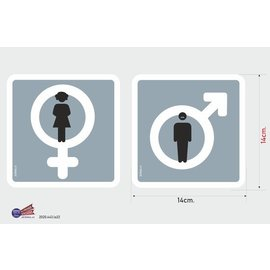 Allerhandestickers.nl Toilet stickers set man & vrouw pictogram.