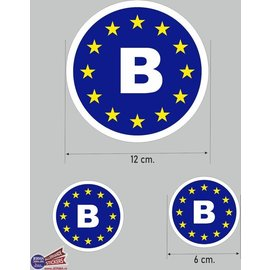 Allerhandestickers.nl EU auto sticker, B België auto sticker set.