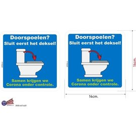 Allerhandestickers.nl WC doorspoelen sluit de deksel sticker set.