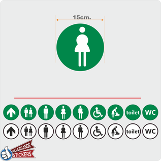 Allerhandestickers.nl WC deur sticker DAMES groen, wit.