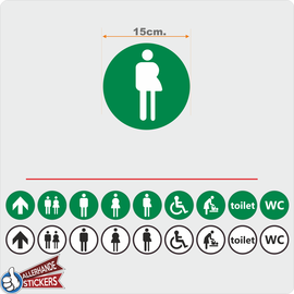 Allerhandestickers.nl WC deur sticker Gender neutraal Groen, Wit.