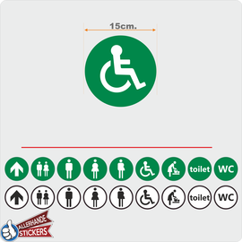 Allerhandestickers.nl WC deur sticker Invalide Groen, Wit