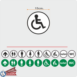 Allerhandestickers.nl WC deur sticker Invalide Zwart, Wit