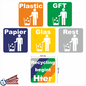 Allerhandestickers.nl Recycling begint hier set 6 afval stickers