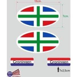 Allerhandestickers.nl Provincie Groningen vlaggen auto sticker set.