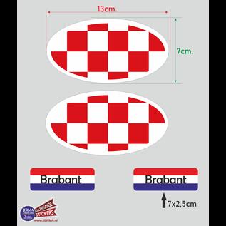 Allerhandestickers.nl Provincie Brabant vlaggen auto sticker set.