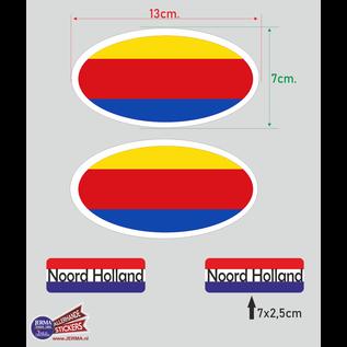 Allerhandestickers.nl Provincie Noord Holland vlaggen auto sticker set.