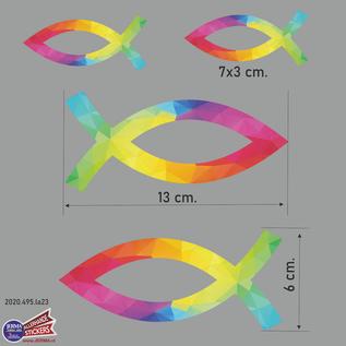 Allerhandestickers.nl Ichthus vissen symbool sticker set van 4 kleurige stickers.