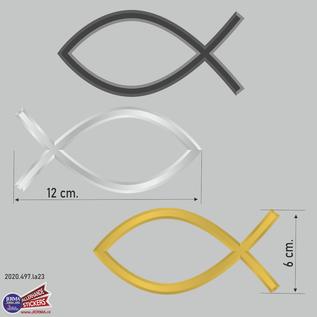 Allerhandestickers.nl Ichthus vissen symbool sticker set van 3 stickers in de kleur Zwart, Zilvergrijs en Goud geel