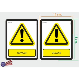 Allerhandestickers.nl ISO7010 W001 Gevaar 2 Waarschuwing stickers M 14x18cm