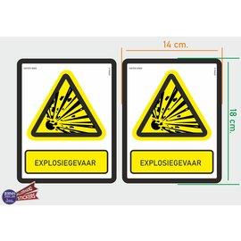Allerhandestickers.nl ISO7010 W002 explosiegevaar Waarschuwing  2 stickers