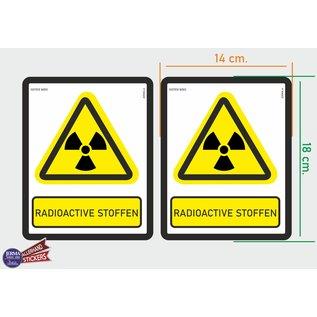 Allerhandestickers.nl ISO7010 W003 radioactieve stoffen Waarschuwing. M set 2 stickers 14 x 18 cm