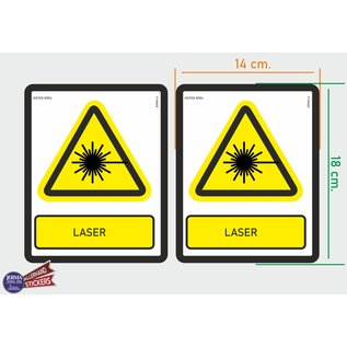 Allerhandestickers.nl ISO7010 W004 laser Waarschuwing M set 2 stickers 14x18 cm
