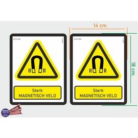 Allerhandestickers.nl ISO7010 W006 sterk magnetisch veld  M set 2 st.