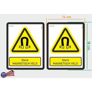 Allerhandestickers.nl ISO7010 W006 sterk magnetisch veld Waarschuwing M set 2 stickers 14 x 18 cm