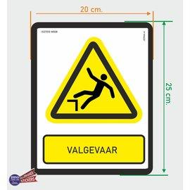 Allerhandestickers.nl ISO7010 W008 Val gevaar sticker 20 x 25 cm
