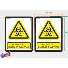 Allerhandestickers.nl ISO7010 W009 biologisch besmettingsgevaar  M set 2